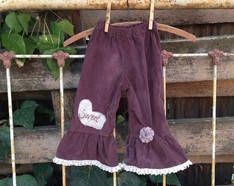CUSTOM, made to order corduroy hand dyed, brown, upcycle,toddler boho rustic child, 2T, child winter jeans pants