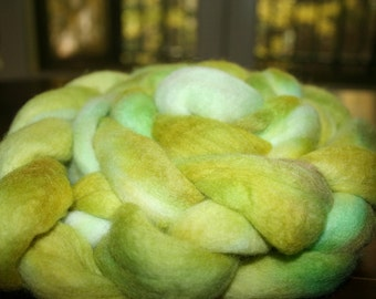 Spinning Wool Merino Fiber Kettle Dyed Hand Dyed Top Roving 4 oz 113g OOAK Colorway International Shipping - Lemon Mojito