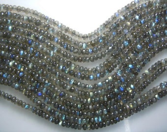Labradorite Beads Labradorite Gemstone Smooth Rondelle Beads -20 Strands -14''  AAA High Quality Blue Fire  Size 5 To 6MM Approx Wholesale
