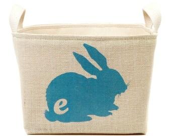 Monogrammed Bunny Basket, Turquoise
