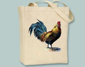 Beautiful Blue-tailed Vintage Rooster on Canvas Tote - Selection of sizes available