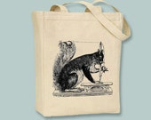 Vintage Sewing Squirrel Illustration Canvas Tote -- selection of sizes available