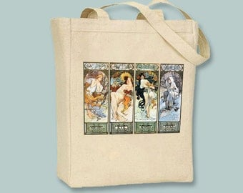 Alphonse Mucha's Les Saisons, Seasons, Illustration on Natural or Black Canvas Tote - Other Bag Sizes Available