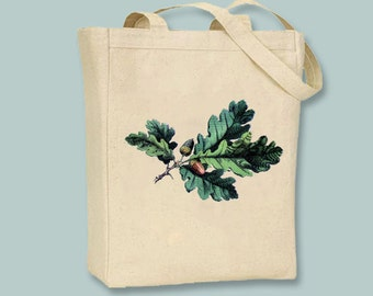 Vintage Oak Leaf Acorn on Canvas Tote - Seledtion of sizes available