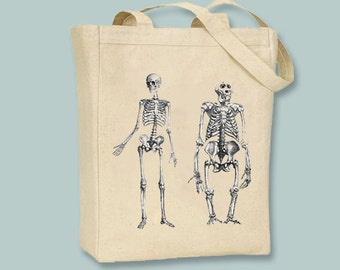 Man and Gorilla Skeleton on Canvas Tote  -- Selection of  sizes available