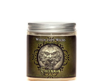 Greenman 4oz oakmoss amber scented soy candle jar