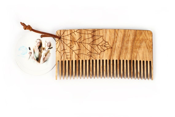 """Wooden comb wide toothed. Middle toothed comb """"Maple"""". Narrow double sided engraved comb for by WildGood for natural haircare"""