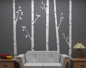 """Birch Tree Wall Decals with Branches Sticker Set - 5 Trees 96"""" Tall Each - Vinyl wall art for decorating - Trendy Home Decor"""