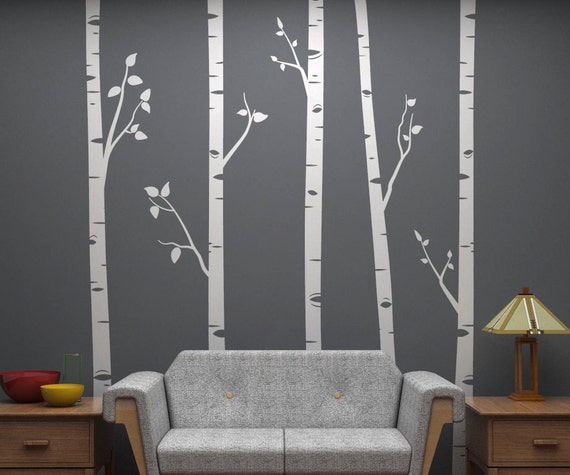 Birch tree wall decals with branches by potandkettlestudios for Appliqu mural autocollant