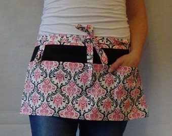 Half Apron with pockets and loop in candy pink black white damask fabric