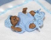 Dollhouse Miniature Baby - 1/12th Scale Newborn Black/African American Boy in Blue Layette - Handmade OOAK Polymer Clay - Beldon Jared
