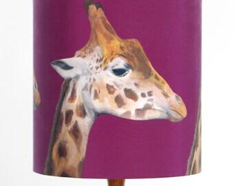 Giraffes Lampshade - handmade silk shade