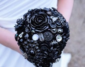 SALE - Wedding Bouquet in Black Gothic Style Victorian with silver vintage ballerinas Perfect for the Alternative Bride