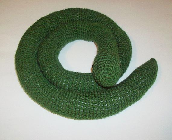 Solid Snake Amigurumi : CLEARANCE: Amigurumi Snake Green Crocheted Snake Finished