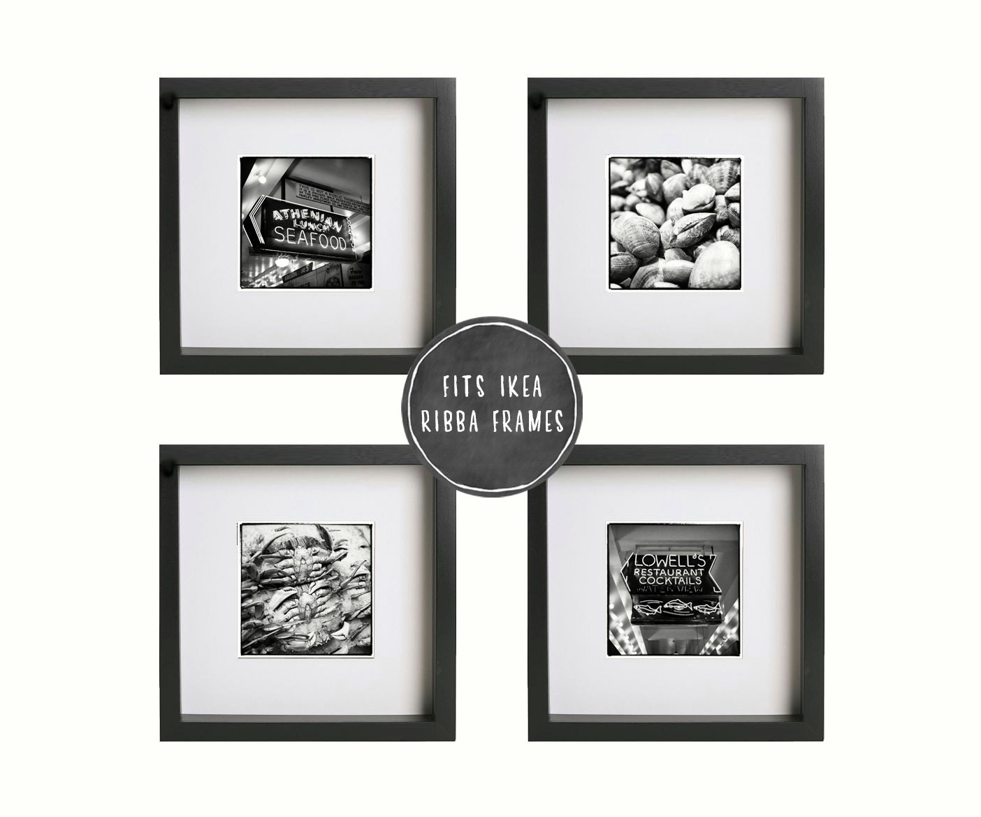 Seattle art set of 4 square black and white pike place market for 5x5 frames ikea