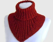 Men scarf, cowl, neck warmer, knit collar, soft, hand knit, unisex, women, Tweed Chestnut