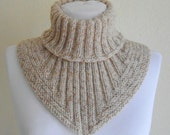 Men scarf, cowl, neck warmer, knit collar, soft, hand knit, unisex, women, Tweed Beige