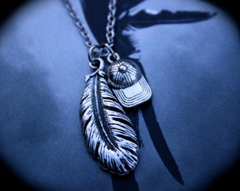 Fallen Angel Charm Necklace ~ Nephilim ~ Feather Necklace ~ Theme Jewelry ~ Paranormal ~ Book Swag