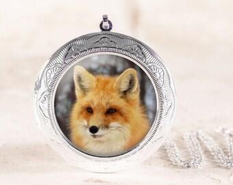 Red Fox Locket - Silver Fox Jewelry, Fox Animal Locket, Silver Animal Jewelry, Woodland Wildlife Jewelry Locket, Fox Photo Locket Silver