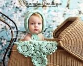Elegant Newborn Baby Girl Bonnet-Aqua Knit Newborn Bonnet-Knit Baby Girl Photo Prop-Cute Baby Girl Newborn Pixie Bonnet Hat with Pearls