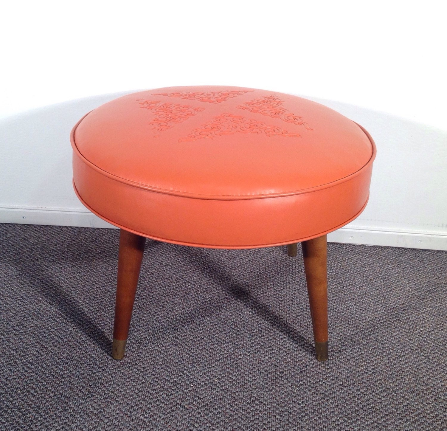 Wonderful image of mid century vintage round ottoman footstool by gillardgurl on Etsy with #B82B13 color and 1500x1446 pixels
