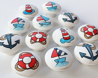 Nautical / Ocean Drawer Pulls / Dresser Knobs / Closet Handles for Boys, Kids, Nursery Rooms / Nautical Nursery Decor