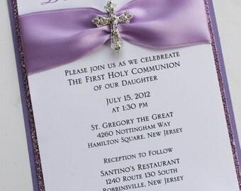 Girl Baptism-Communion Invitation with Vintage Sparkling Cross; Rhinestone Buckle; Rhinestone Cross Brooch