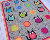CROCHET PATTERN - Cat Lover Blanket - a colorful cat afghan pattern, cat blanket pattern, crochet blanket pattern - Instant PDF Download