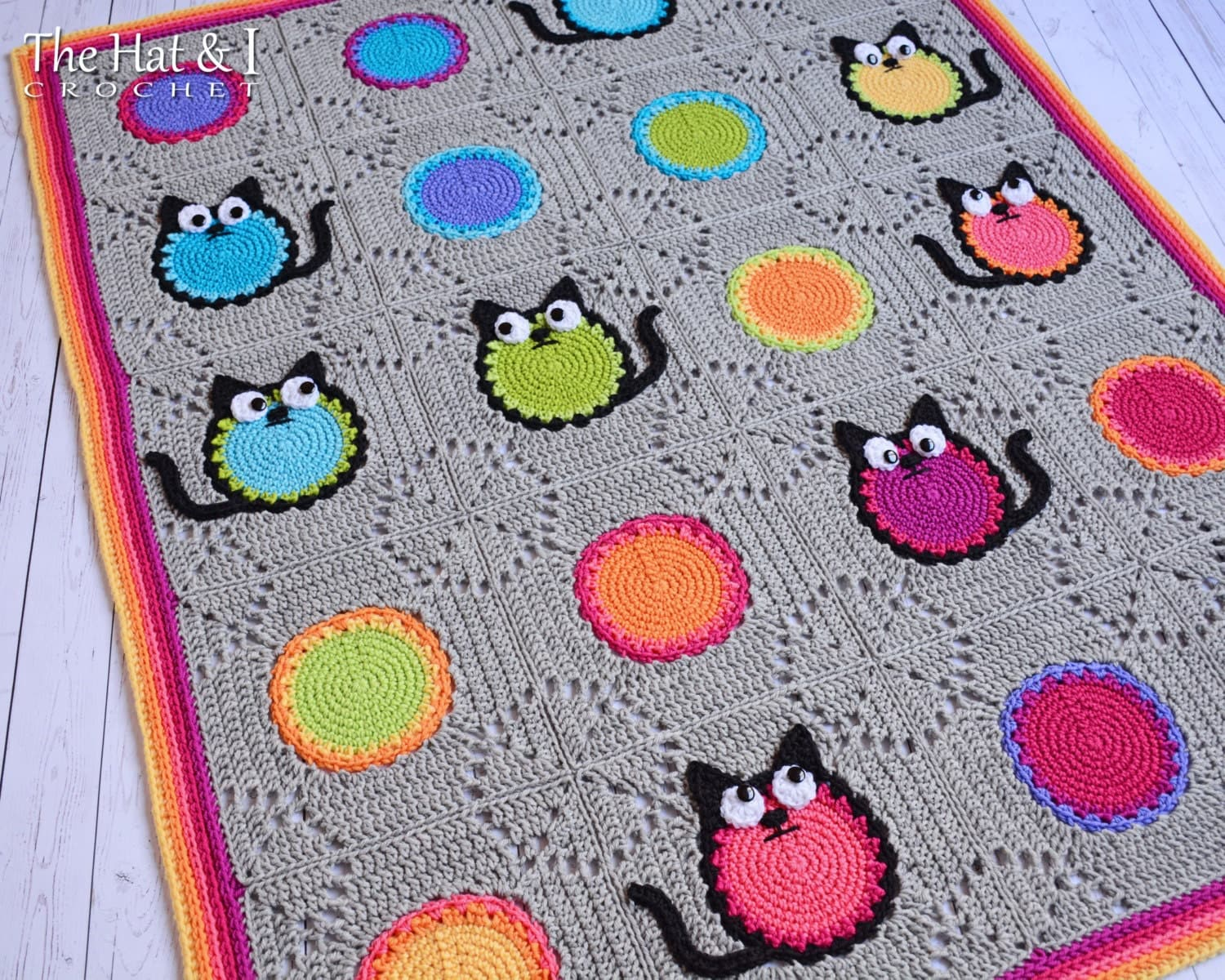 Crochet Cat Afghan Pattern : CROCHET PATTERN Cat Lover Blanket a colorful cat afghan