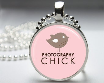 Photography Humor Round Pendant Necklace with Silver Ball or Snake Chain Necklace or Key Ring
