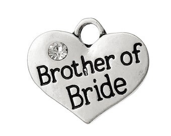 """1 Antique Silver Rhinestone """"Brother of Bride"""" Heart Charm Pendant 16x14mm  chs1425"""