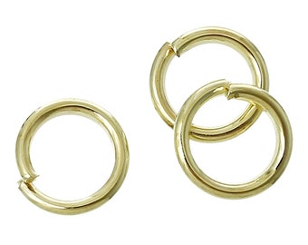1000 Gold Plated open jump rings, 6mm OD, 4mm ID, 18 gauge wire, jum0103b