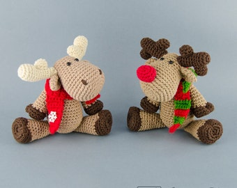 Reindeer / Moose Amigurumi - PDF Crochet Pattern - Instant Download - Amigurumi crochet Animal Cuddy Stuff Plush
