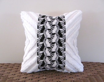 White cat Escher black cat pillow cover CAT WHISKERS 12 X 12 cottage chic white cat cushion cover shabby style black cat kitty pillow