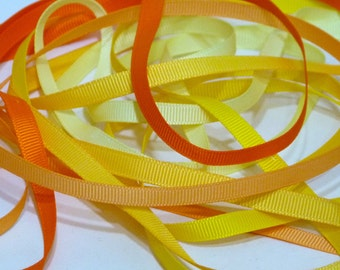 Orange Yellow Shades 6mm Plain Grosgrain Ribbon - Matches my Wool Blend Felt