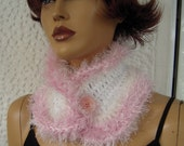 neckwarmer handmade crochet pink and white  gift idea for her/soft neckwarmer/women accessories for winter/holidays gift by goldenyarn