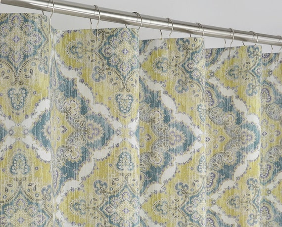 84 long medallion shower curtain in teal fern green by