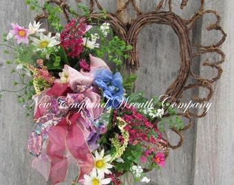 Floral Wreath, Heart Wreath, Victorian Wreath, Country French Wreath, Summer Garden Wreath, Wedding Wreath, Mother's Day Gift