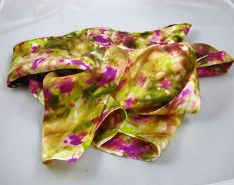 silk scarf Hand Painted spring garden  women's silk accessories sash belt neck tie head band