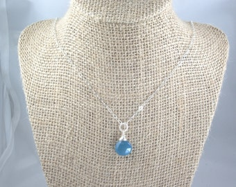 Blue Chalcedony Pendant Necklace Dainty Sterling silver wire wrapped briolette teardrop necklace Bridesmaids necklace