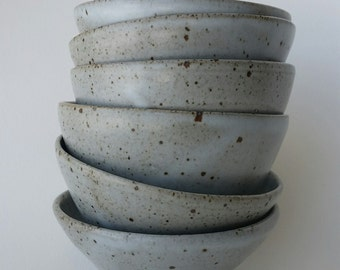 Set of Six Round Stoneware Pottery Bowls, Grey Glaze, Gas Fired Reduction