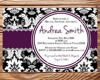 Bridal Shower Invitation,Damask Bridal shower Invite, Baby Shower, Purple, Black, Green Damask Bridal Shower Invitation, 5066