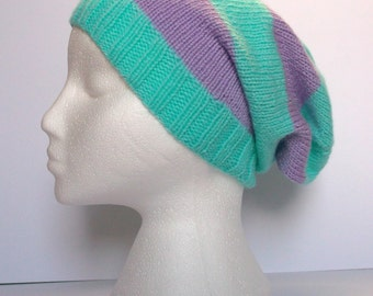 Aspen and lilac striped hand knitted super slouchy beanie hat. Adult or teenager. Unisex