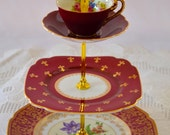 Maroon Burgundy Cakestand 3 Tier Vintage China Tea Stand for Weddings, Tea Parties, Displays, Showers, Jewelry Stand FREE shipping