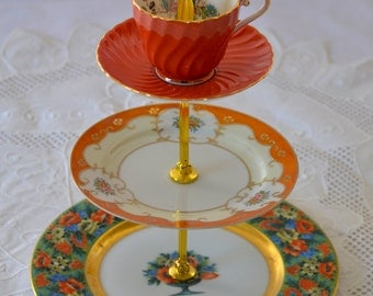 Orange and Gold Cakestand 3 Tier Vintage China Tea Stand for Weddings, Tea Parties, Displays, Showers, Jewelry Stand FREE shipping