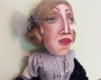 BETTE DAVIS DOLL  Handmade/Hand Painted One of a Kind Cloth Doll/For Collectors