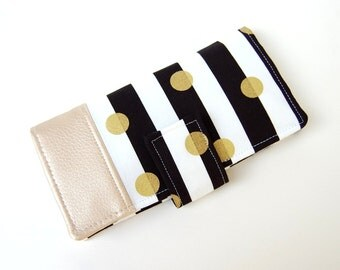 Women's  Bifold Wallet - Smart Phone Clutch - Wristlet Option - Black and White Stripe Gold Dipped in Vinyl