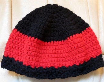 Chemo Cap - Cloche Hat - Black and Red - One Size Fits Most - Item 4256
