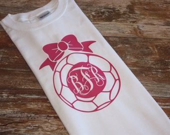Soccer Ball with Monogram and Bow - Youth or Toddler Short Sleeve Shirt - Monogrammed Soccer Ball with Bow
