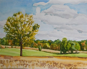 Maple Rd., Looking East with Bean Field, original watercolor landscape, fall colors, early Autumn farm scape, golds, greens, blue sky